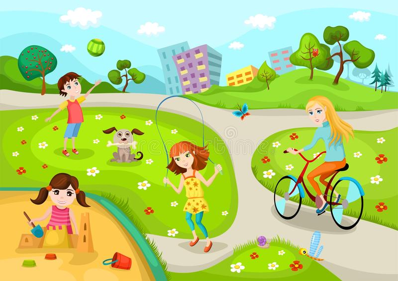 Download Playground stock vector. Image of girl, children, outside - 24753291