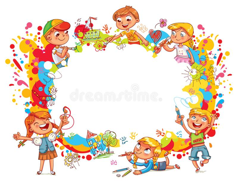 Playground. Children paint abstract abstract color splash. Template for advertising brochure. Ready for your message. Funny cartoon character. Vector stock illustration
