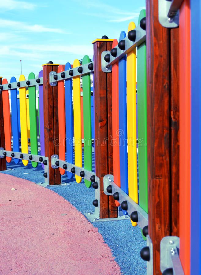 Playground colorful fence royalty free stock photography