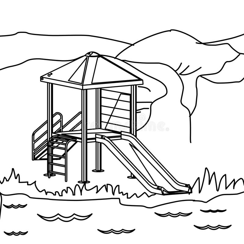 Hand drawn playground coloring page for kids