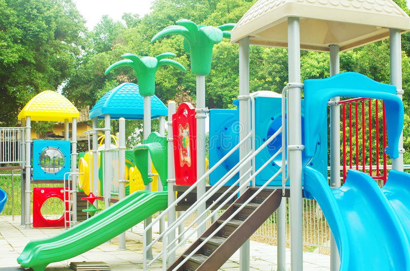 Playground. A colourful children playground equipment royalty free stock photo