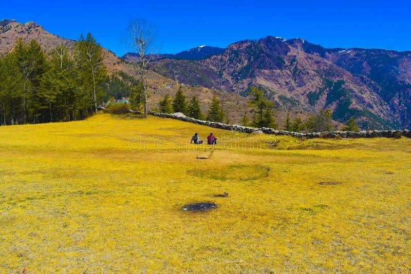 Playground of Dalash village in district Kullu in  Himachal Pradesh. Along with beautiful view of hills royalty free stock photos