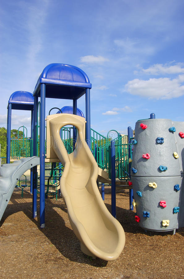 Playground Equipment. Colorful playground equipment on a sunny day stock images