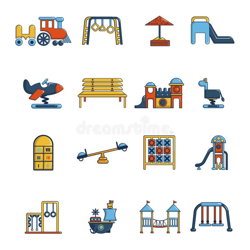 Playground equipment icons set, cartoon style stock illustration