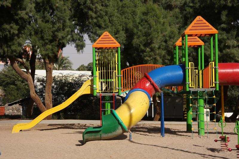 Playground with equipment. Playground with colorful outdoor equipment royalty free stock photography