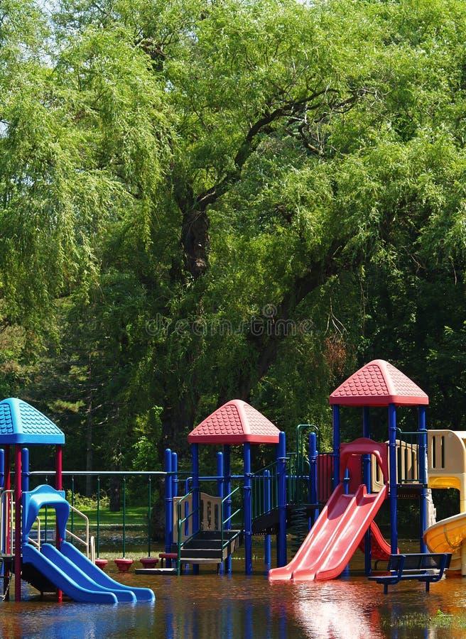 Playground flood stock image