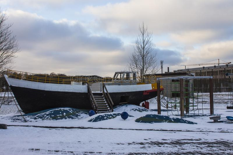 Playground in the form of a ship at the Maritime Museum Seaplane in Tallinn in winter. Estonia royalty free stock image