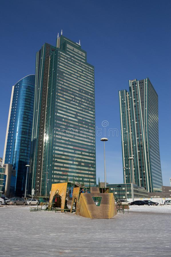 Playground in front of High-Rises in Astana, Kazakhstan during Daytime.  stock photography