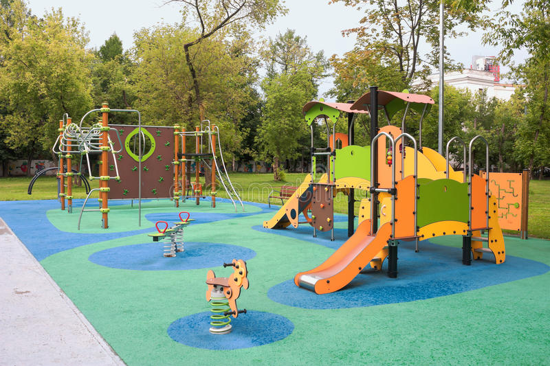 Playground for fun games and children`s education stock image