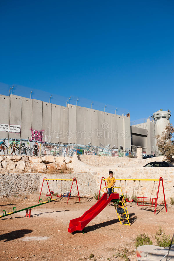 Download Playground And Israeli Separation Wall Editorial Image - Image: 16395620