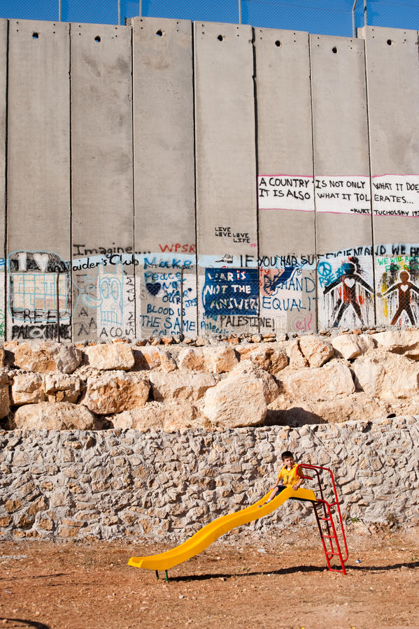 Download Playground And Israeli Separation Wall Editorial Photo - Image of palestinian, israeli: 16407191