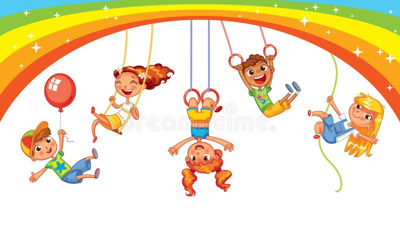 Playground. Kid weighs on the rings upside down. Climbing up along the rope. Swinging on swing. Children have fun on the rides. Amusement park. Playground. Kid vector illustration