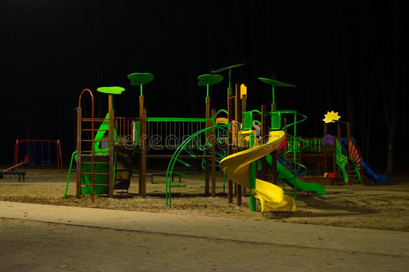 Playground In The Night Park Stock Photo - Image of cityscape, metal:  172401662