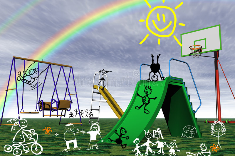 Download Playground in the park. stock illustration. Image of happy - 6703879