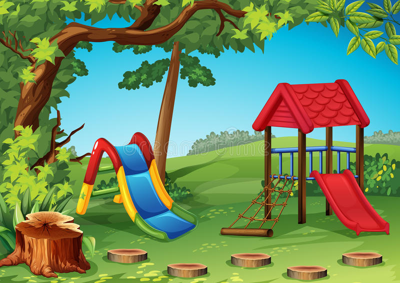 Playground in the park stock illustration