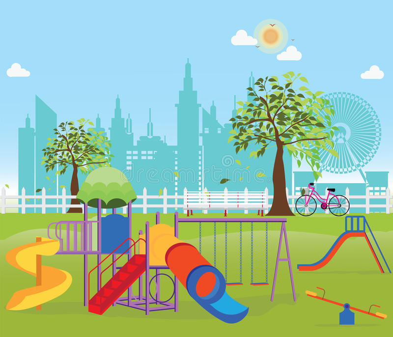 Playground in the Public park in the City. royalty free illustration