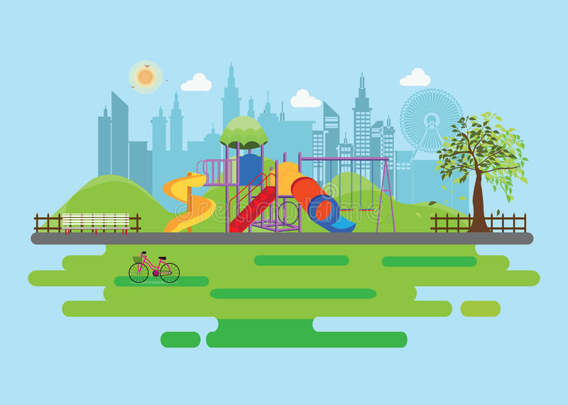 Playground in the Public park in the City royalty free illustration
