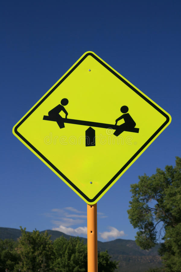 Playground road sign stock photo. Image of warning, road ...
