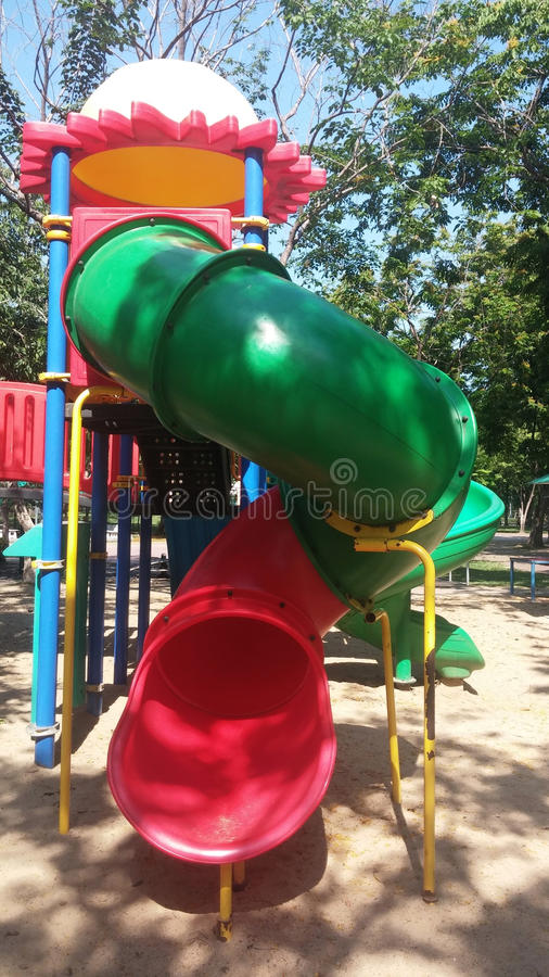 Playground Slide. Outside outdoor park royalty free stock photos