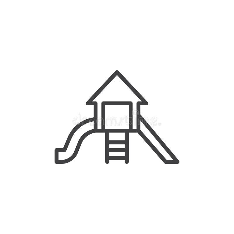 Playground sliding line icon stock illustration