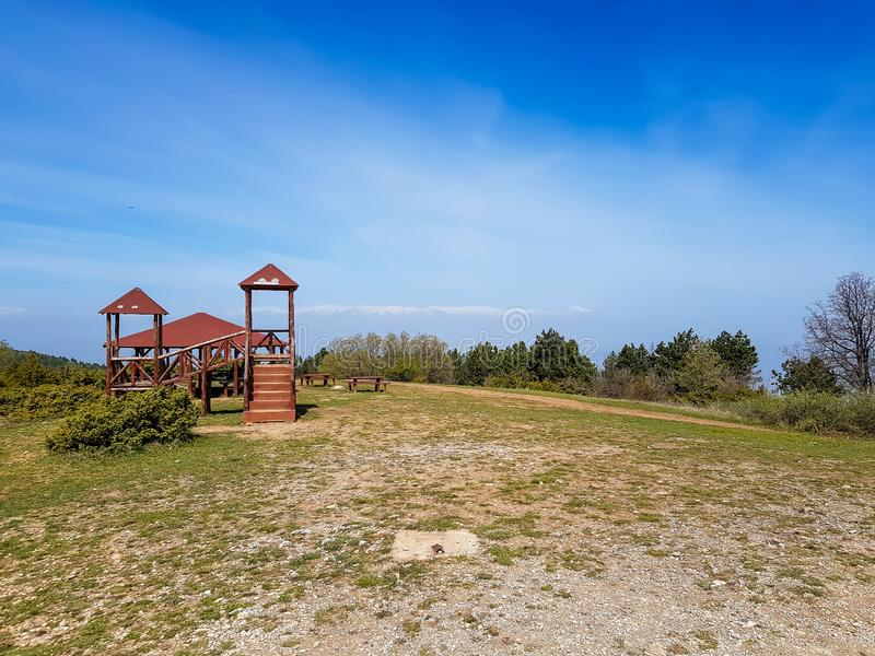 Playground on a top of mountain with beautiful blue sky royalty free stock photography