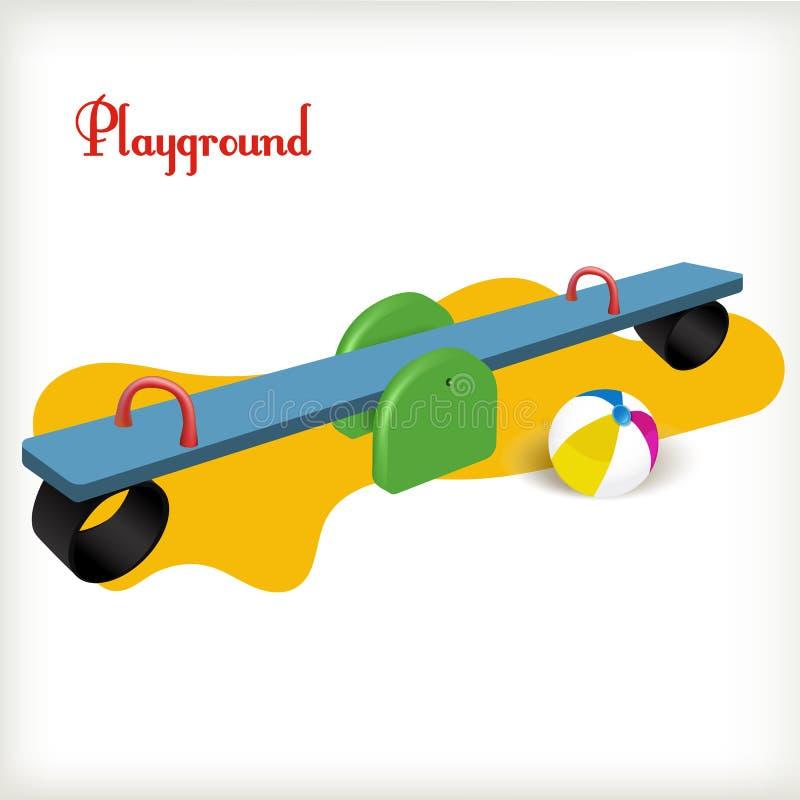 Playground. Vector illustration. Blue seesaw on the playground vector illustration