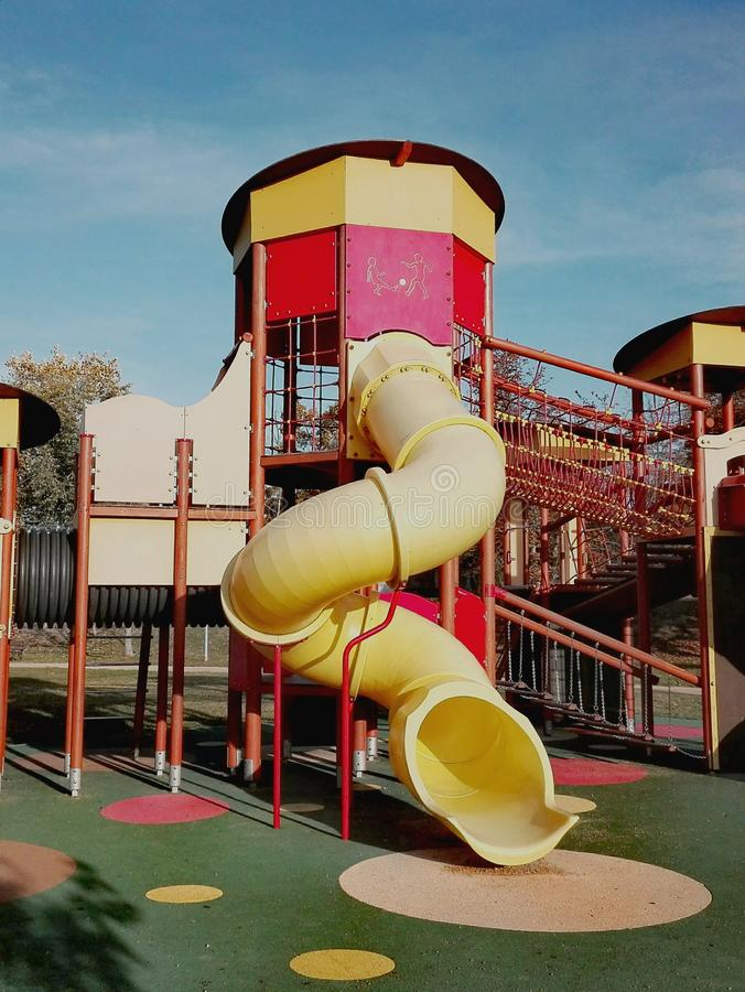 Free Playground With Climbing Frame, Ladder, Tube, Slide In A Park In Szekesfehervar, Hungary Stock Photography - 161704022