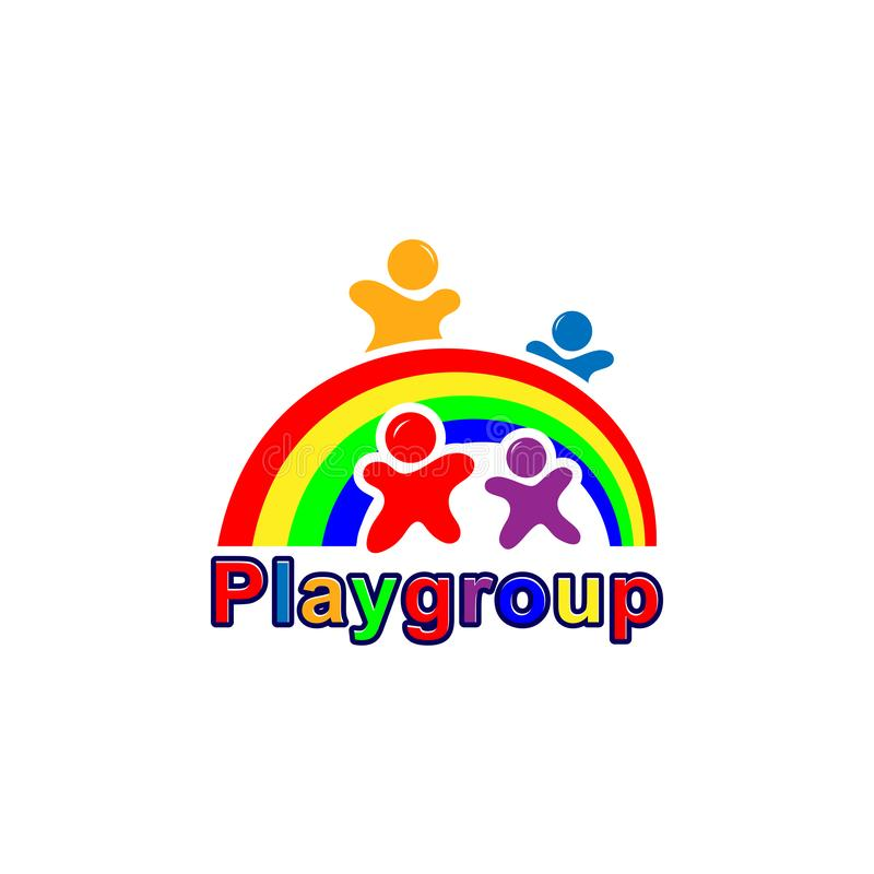 Playgroup-Logodesign, Vektorschablone stock abbildung