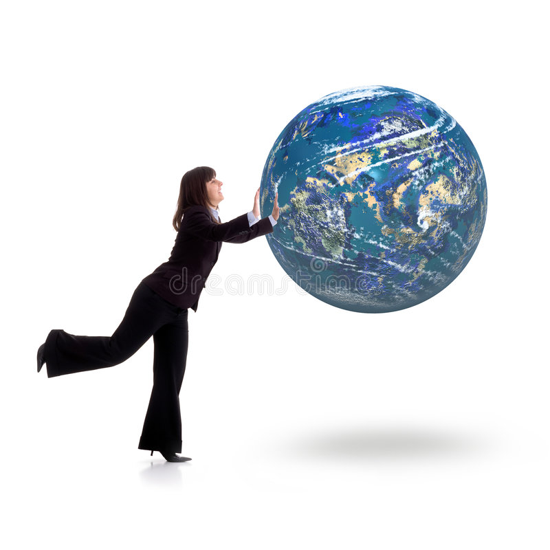 Playing. An handsome young girl playing with planet earth.Conceptual picture vector illustration