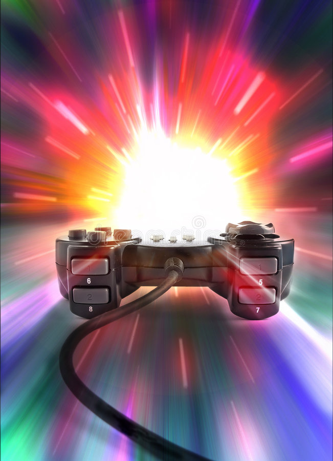 Playing. One joypad on colored background vector illustration