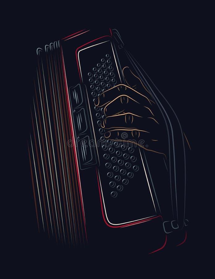 Playing accordion. Line art illustration vector illustration