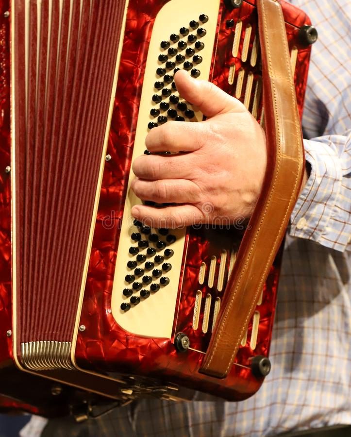 Man playing accordion, hands stock photo
