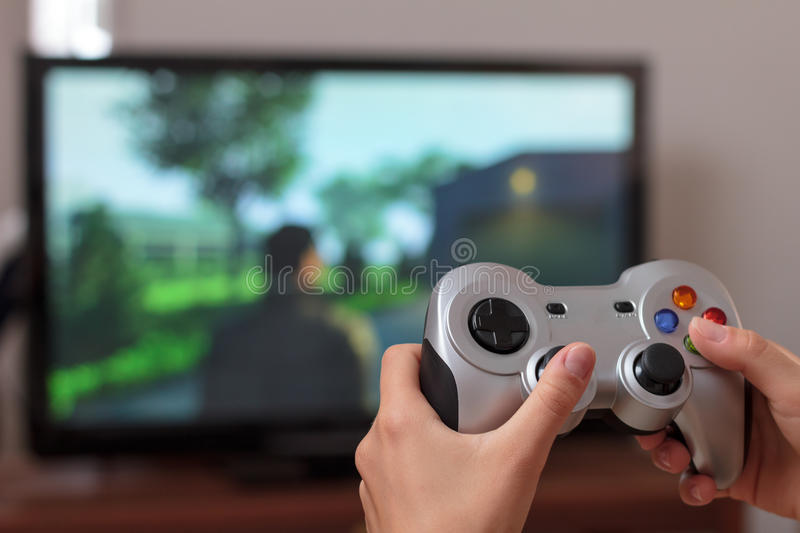 Playing Action Video Game Royalty Free Stock Images