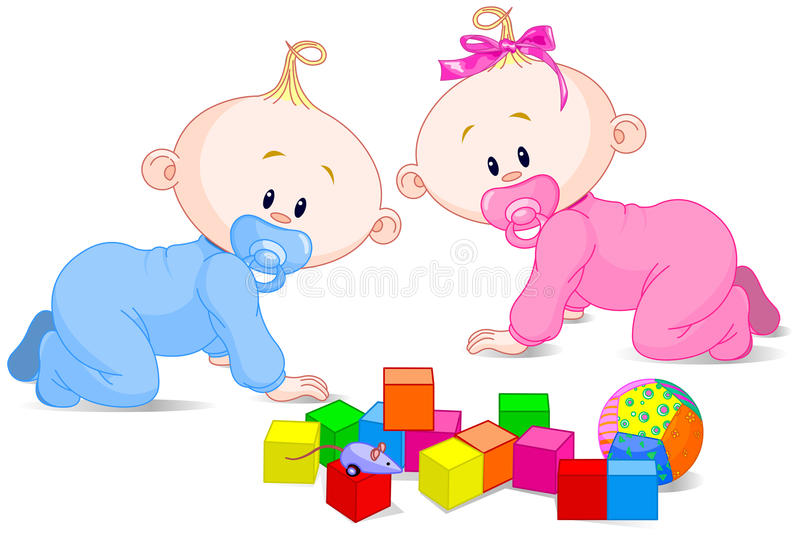 Playing babies vector illustration