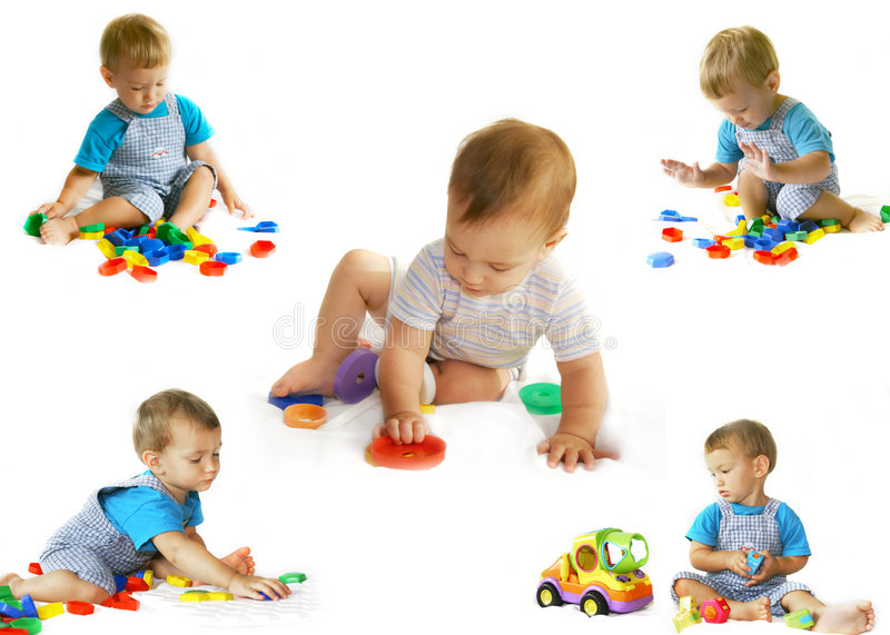 Download Playing Baby-boy Over White Stock Image - Image: 5778955