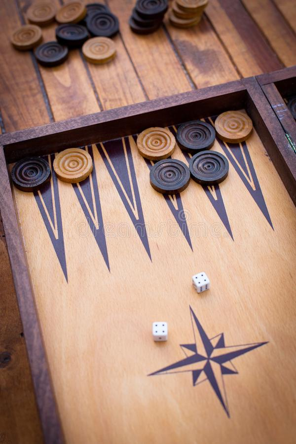 Playing backgammon royalty free stock photos
