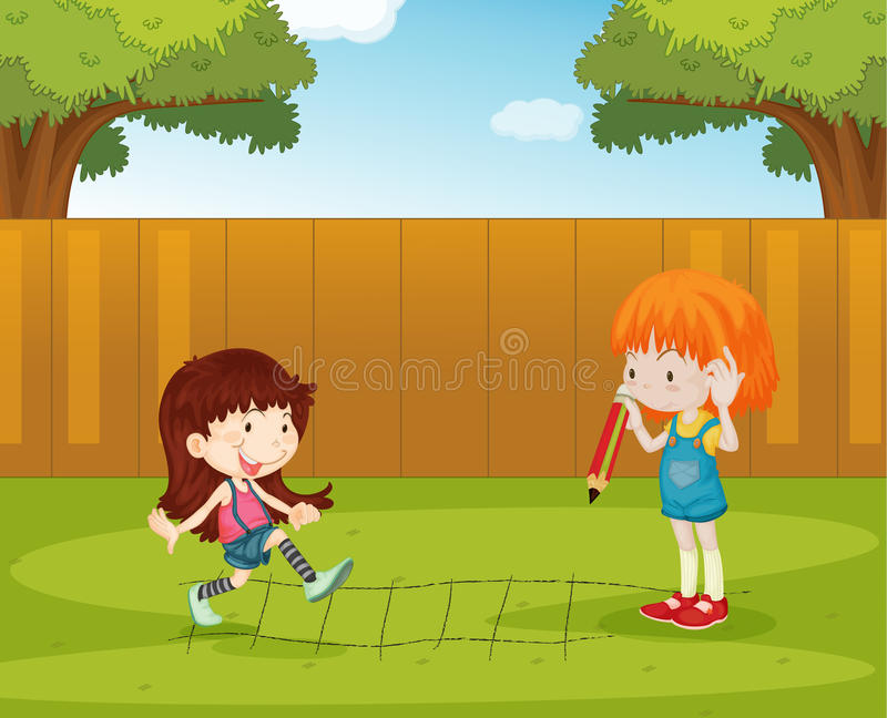 Playing in the backyard. Illustration of girls playing in the backyard stock illustration