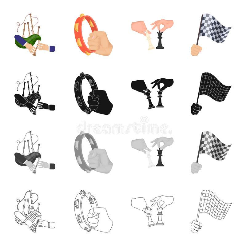Playing on bagpipes, tambourine in hand, chess, sports flag in hand. Movement and manipulation set collection icons in. Cartoon black monochrome outline style royalty free illustration