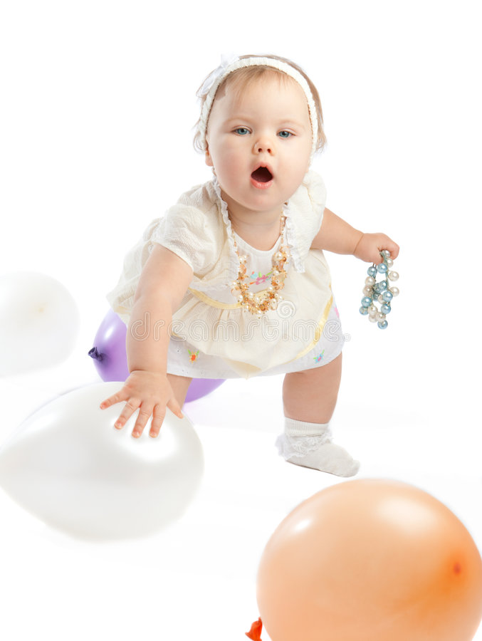 Download Playing with balloons stock image. Image of interest, cute - 7980163