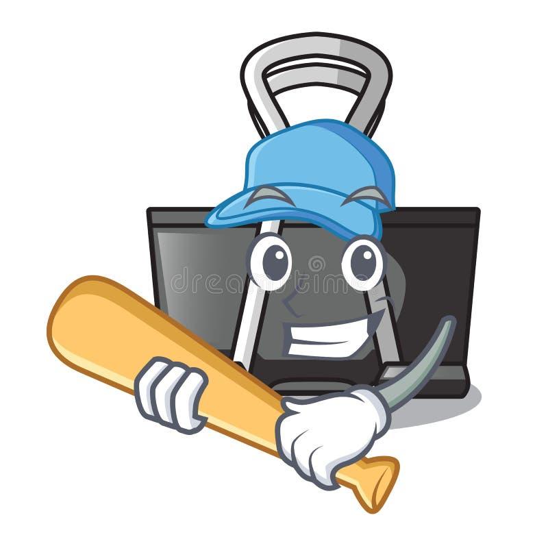 Playing baseball binder clip in the character shape. Vector illustration vector illustration