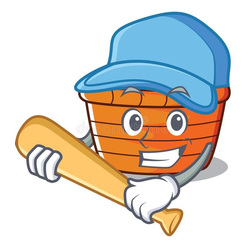 Playing baseball fruit basket character cartoon royalty free illustration