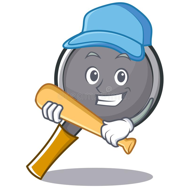 Playing baseball frying pan cartoon character. Vector illustration vector illustration