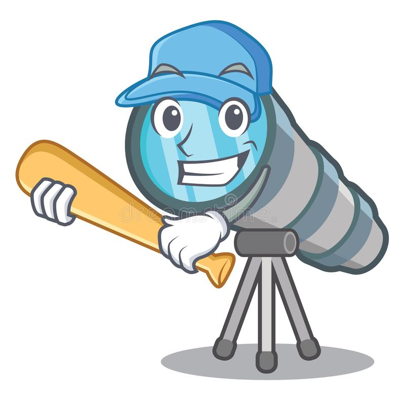 Playing baseball telescope isolated with in the mascot. Vector illustration royalty free illustration