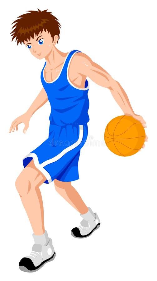 Playing Basketball. Cartoon illustration of a teenager playing basket ball royalty free illustration