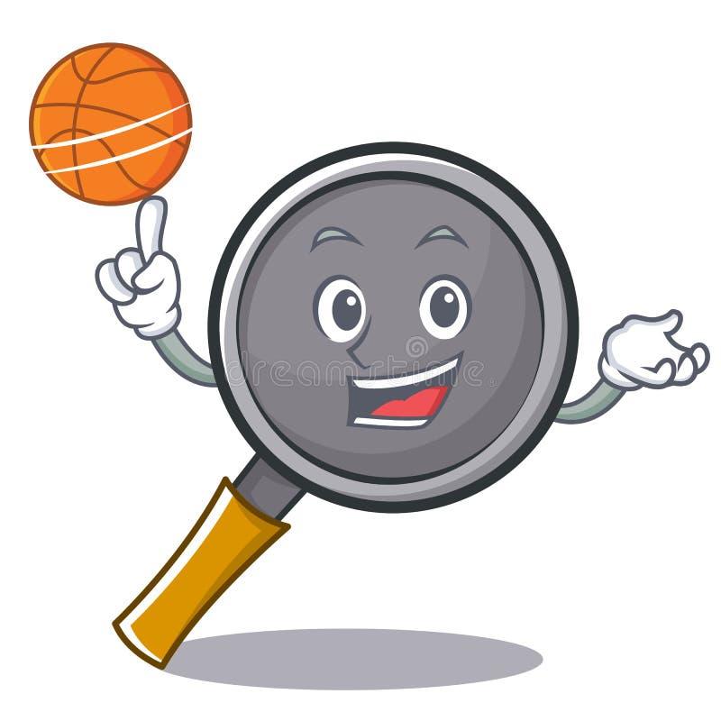 Playing basketball frying pan cartoon character. Vector illustration royalty free illustration