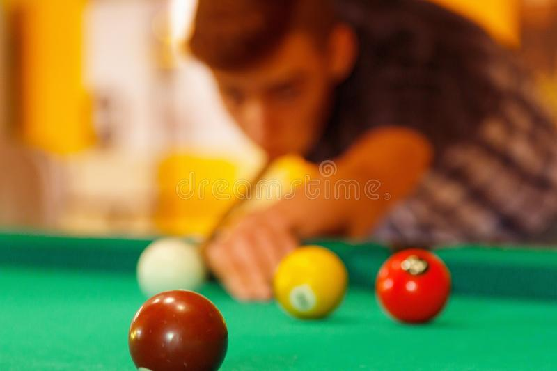 Playing in billiard pool activity royalty free stock photo