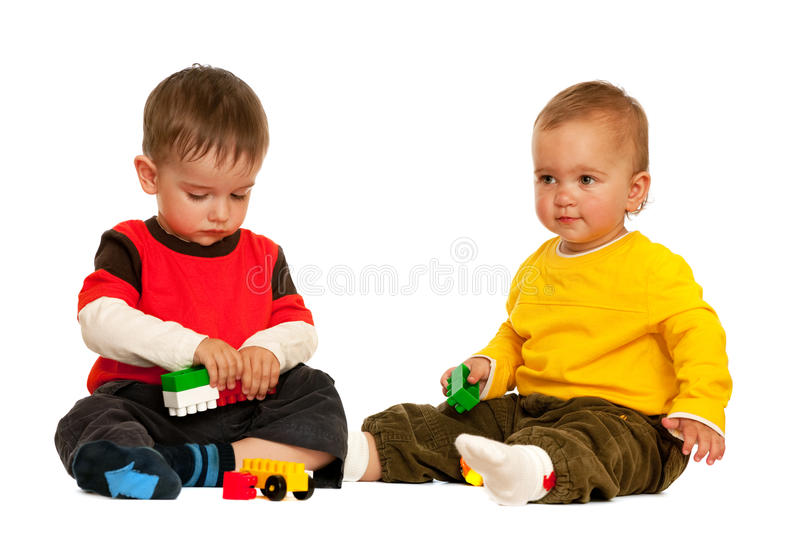Playing with blocks toddlers stock images