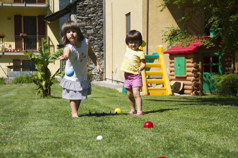 Playing bocce ball royalty free stock photography