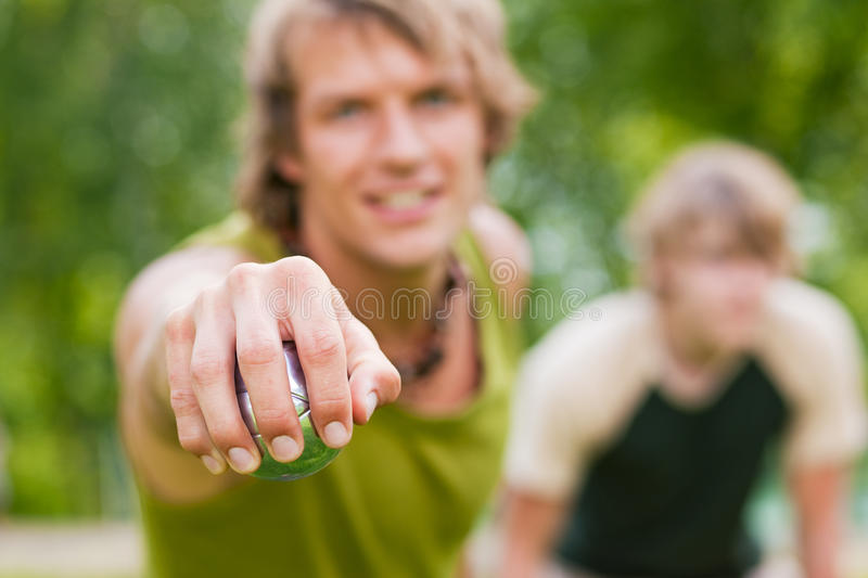 Download Playing boule stock image. Image of hold, people, aiming - 12358183