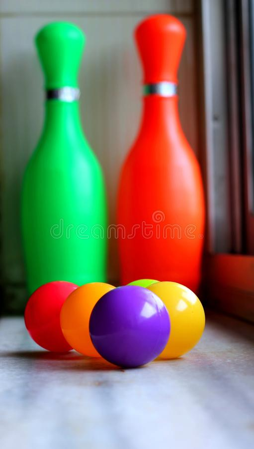 Playing bowling royalty free stock photos